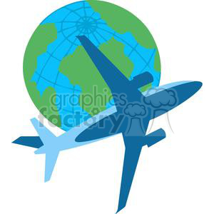 2392-Royalty-Free-Airplane-Flying-Around-The-Earth clipart. Commercial use image # 379915