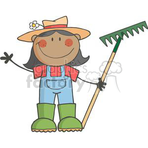 2508-Royalty-Free-Stick-Figure-African-American-Gardening-Girl-Waving-A-Greeting clipart. Commercial use image # 379925
