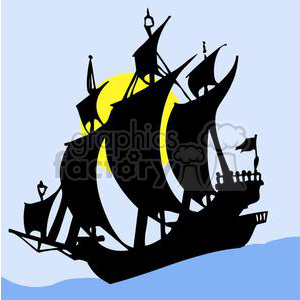 Pirate ship silhouette clipart. Commercial use image # 379995