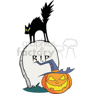 2590-Royalty-Free-Black-Cat-And-Jack-O-Lantern-In-A-Tombstone clipart. Royalty-free image # 380005