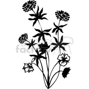 75-flowers-bw clipart. Commercial use image # 380062
