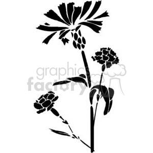51-flowers-bw clipart. Commercial use image # 380077