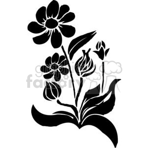 09-flowers-bw clipart. Commercial use image # 380092