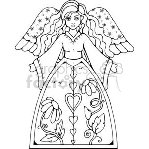 cartoon black white angel angels girl girls heaven religious religion
