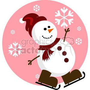 snowman with pink background and red Santa hat clipart. Royalty-free image # 381025