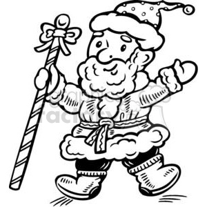 Santa holding a big candy cane stick clipart. Royalty-free image # 381117