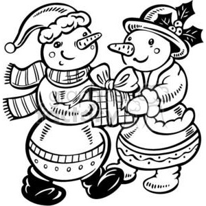 snowmen giving gifts clipart. Commercial use image # 381122
