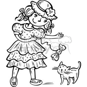 girl playing with her kitten clipart. Royalty-free image # 381503