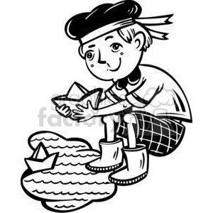 boy playing with boats in a puddle clipart. Royalty-free image # 381508