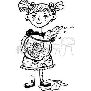 small girl holding her fish bowl clipart. Commercial use image # 381513