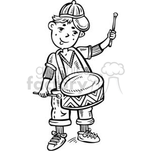 boy playing the snare drum clipart. Commercial use image # 381518