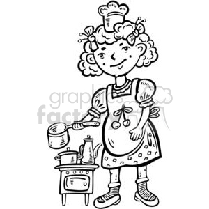 cartoon children child kid kids people little black white girl girls cooking cook kitchen playing chef small play