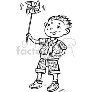 boy playing with a toy windmill clipart. Commercial use image # 381528