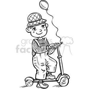 boy riding his scooter clipart. Royalty-free image # 381543