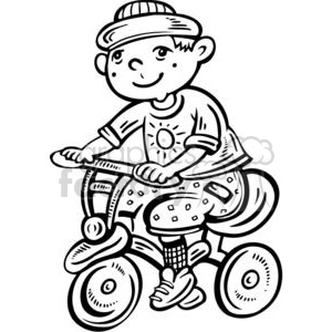 boy riding his bike clipart. Commercial use image # 381548