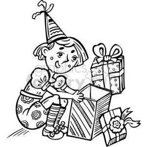 girl opening a present on her birthday clipart. Commercial use image # 381553