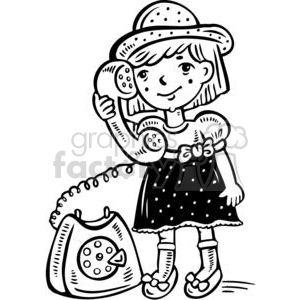 cartoon children child kid kids people little black white girl girls phone phones talking rotary telephone small talk call calling