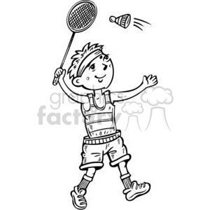 cartoon boy playing badminton clipart. Royalty-free image # 381563