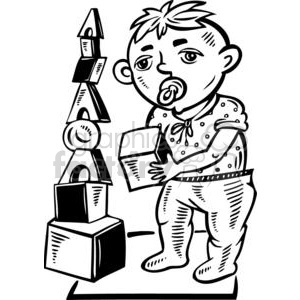 boy playing with toys blocks clipart. Commercial use image # 381568