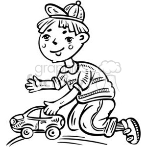 boy playing with his toy car clipart. Royalty-free image # 381583