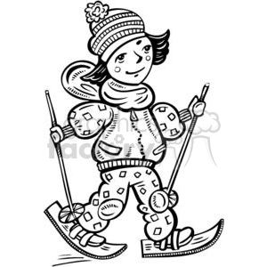girl cross country skiing clipart. Commercial use image # 381593