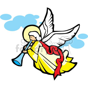 angel playing a musical horn clipart. Royalty-free image # 164255