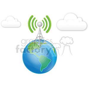 cell tower earth clouds clipart. Commercial use image # 383899