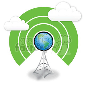 wireless-world-on-antenna clipart. Royalty-free image # 383919