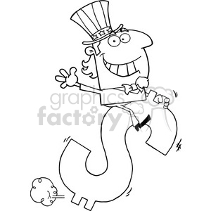 102518-Cartoon-Clipart-Uncle-Sam-Riding-On-A-Dollar-Symbol clipart. Commercial use image # 383969