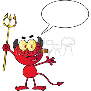 1927-Little-Red-Devil-Holding-Up-A-Pitchfork-And-Smoking-A-Cigar clipart. Royalty-free image # 383984