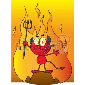 1929-Little-Red-Devil-Holding-Up-A-Pitchfork-And-Smoking-A-Cigar-In-Front-Of-Fire clipart. Royalty-free image # 383989
