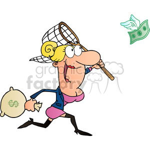 1814-Happy-Businesswoman-Chasing-Money clipart. Commercial use image # 383994