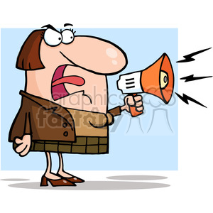 Angry Business Woman Yelling Through A Megaphone clipart. Commercial use image # 383999
