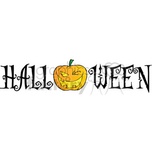 1933-Halloween-Text-With-Pumpkin-Winking clipart. Royalty-free image # 384004