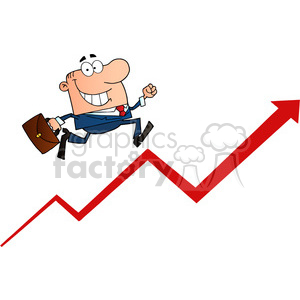 1807-Businessman-Running-Upwards-On-A-Statistics-Arrow clipart. Commercial use image # 384009