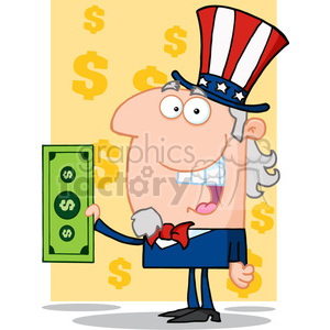 Uncle Sam Holding a Dollar Bill clipart. Royalty-free image # 384034