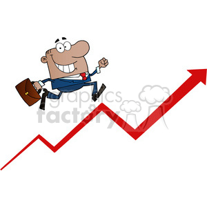 1810-African-American-Businessman-Running-Upwards-On-A-Statistics-Arrow clipart. Commercial use image # 384044