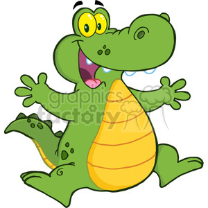 102535-Cartoon-Clipart-Happy-Aligator-Or-Crocodile-Jumping clipart. Royalty-free image # 384049