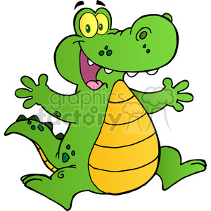 102536-Cartoon-Clipart-Happy-Aligator-Or-Crocodile-Jumping clipart. Commercial use image # 384054