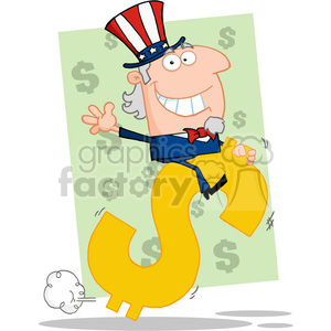 102521-Cartoon-Clipart-Uncle-Sam-Riding-On-A-Dollar-Symbol clipart. Royalty-free image # 384059