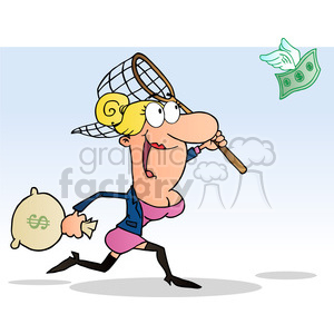 cartoon clipart funny comic character drawings vector lady women money chase catch net profits marketing business cash bag currency