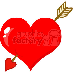 102583-Cartoon-Clipart-Perforated-Heart-With-Arrow clipart. Commercial use image # 384074