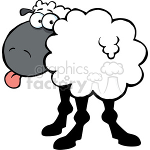 102671-Cartoon-Clipart-Funky-Black-Sheep-Sticking-Out-His-Tongue clipart. Royalty-free image # 384094