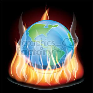 realistic RG vector clipart earth flaming fire flames hot burning burn fireball