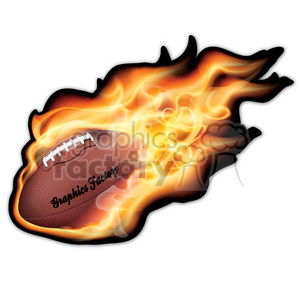 realistic RG vector clipart football sports flaming fire flames hot fireball