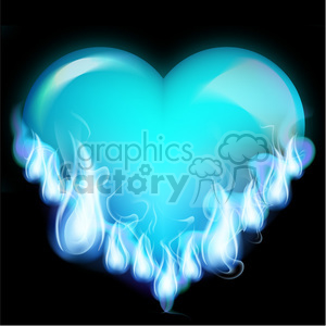 flaming blue heart clipart. Commercial use image # 384133