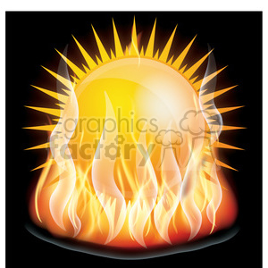 flaming sun clipart. Commercial use image # 384138