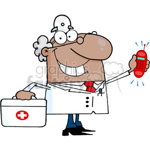 doctor-holding-cellphone clipart. Commercial use image # 384174