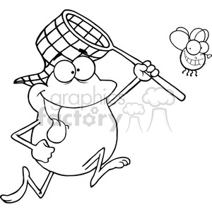 black-white-frog-chasing-dinner clipart. Royalty-free image # 384194