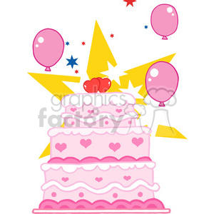 cartoon-pink-birthday-cake clipart. Commercial use image # 384204